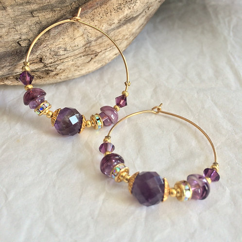 Crown Chakra Earrings Hoops