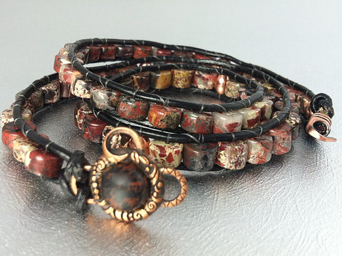 Brecciated Jasper Leather Wrap Bracelet