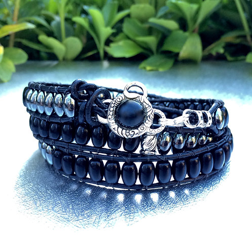 Black Onyx Leather Wrap Bracelet