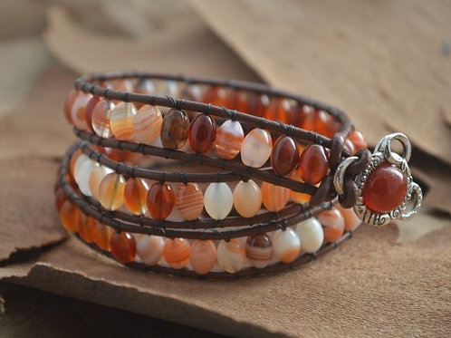 Red Agate and Carnelian Leather Wrap Bracelet