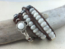 White Howlite Wrap Leather Bracelet