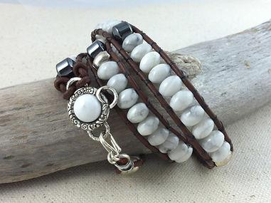 White Howlite Wrap Leather Bracelet