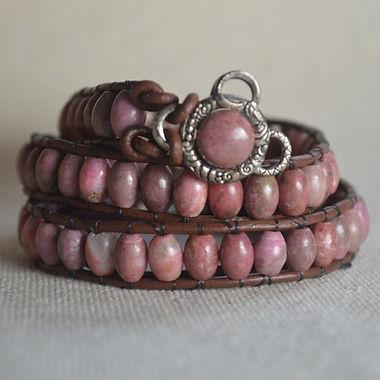Rhodonite Leather Wrap Bracelet