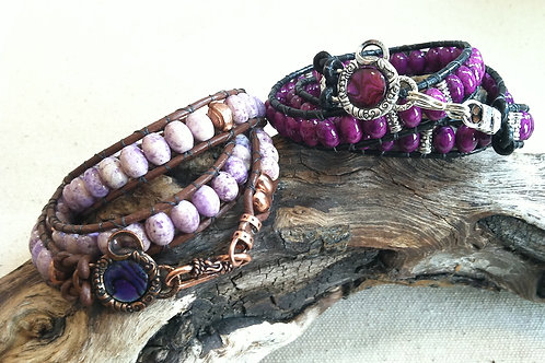 Purple RiverStone Leather Wrap Bracelet