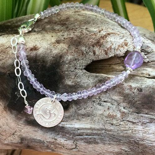 Tiny Om Amethyst Bracelet