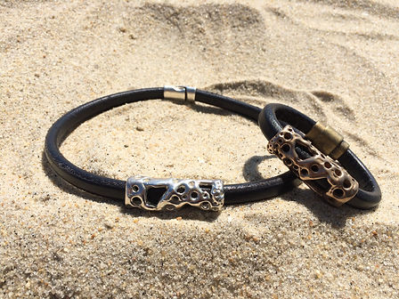 Men's Necklace and Bracelet Sterling Silver and Bronze on Licorice Leather