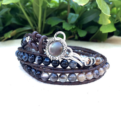 Brown & black Striped Agate Leather Wrap Bracelet