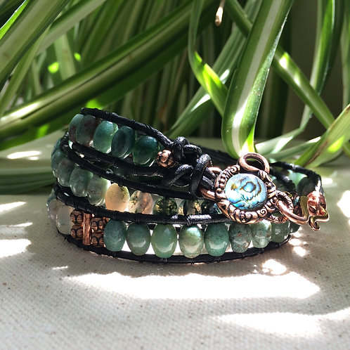 Jade and Moss Agate Leather Wrap Bracelet