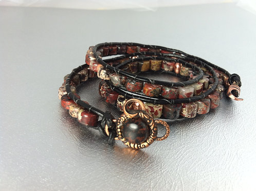 Brecciated Red Jasper Leather Wrap Bracelet