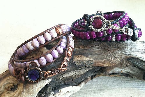Purple River Rock Leather Wrap Bracelet