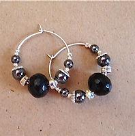 Jet and Hematite Sterling Silver Hoop earrings