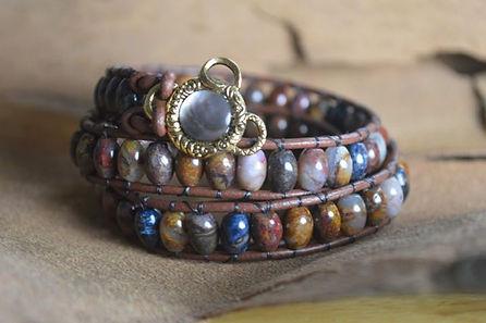 Pietersite Leather Wrap Bracelet