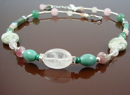 Heart Chakra Necklace with Green Jade and Rose Quartz
