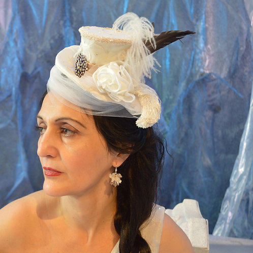 Offwhite Silk Tiny Top Hat with Swarovsky Crystals