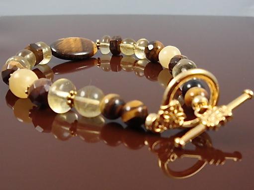 Tiger Eye,Citrine Chakra Bracelet