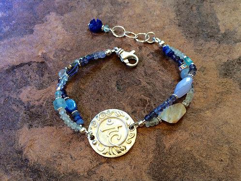 Sterling Silver Throat Chakra Bracelet