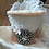 Thumbnail: Offwhite Silk Tiny Top Hat with Swarovsky Crystals