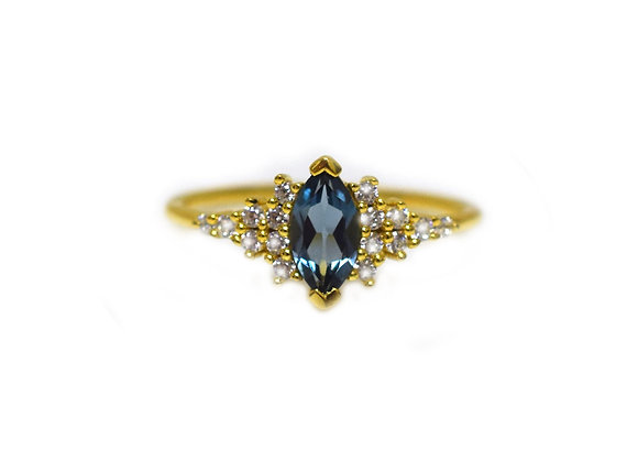 London Blue Topaz & Diamond Calypso Ring