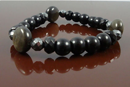Root Chakra Bracelet on Stretch cord Onyx