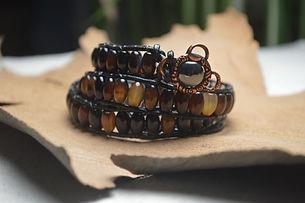 Black agate Leather Wrap Bracelet