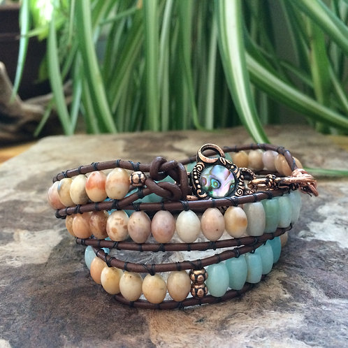 Golden Jade and Amazonite Leather Wrap Bracelet