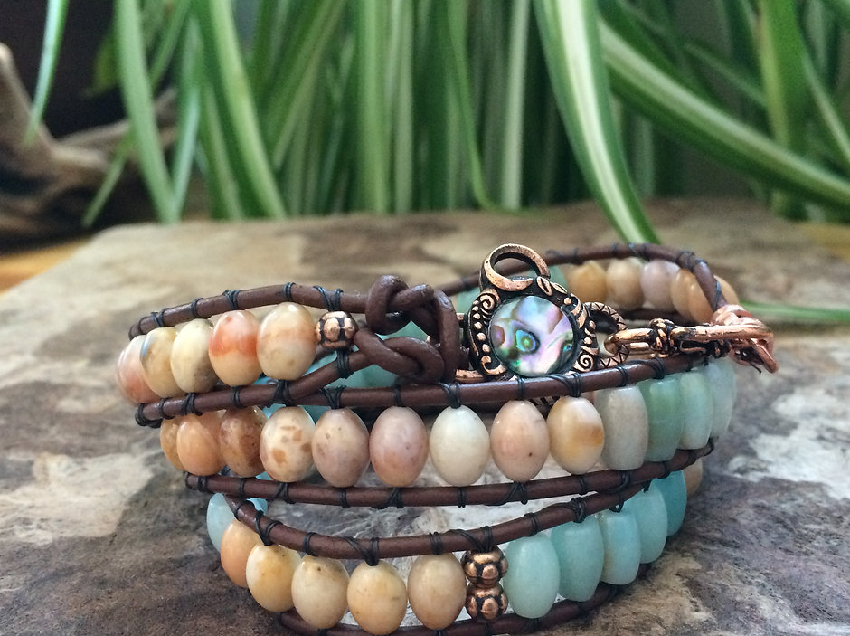 Special Custom Made - Golden Jade and Amazonite Leather Wrap Bracelet