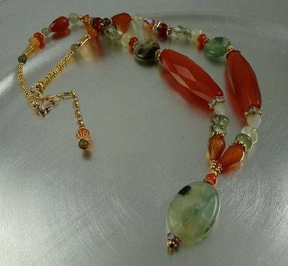 Carnelian and Prehnite Necklace