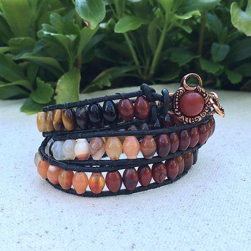 Root Chakra Wrap Leather Wrap Bracelet