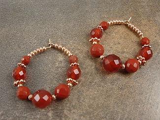 Carnelian Hoop Sacral Chakra Earrings
