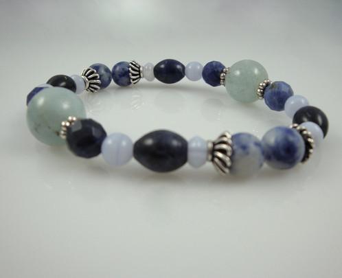 Throat Chakra Bracelet B Aquamarine Sodalite Blue Lace Agate