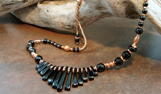 Root Chakra Necklace with Jet and Copper
