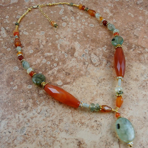 Carnelian and Prehnite Necklace with Earrings
