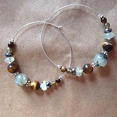 Artemis Hoop Earrings - Tiger Eye and Prehnite on Sterling Silver Hoops