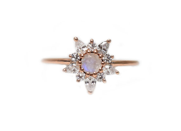 Rose Gold Rainbow Moonstone & Diamond Posy Ring