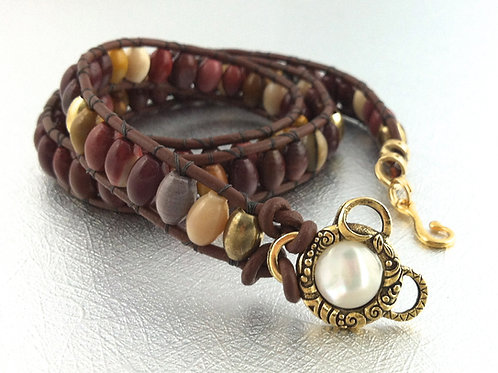 Mookaite Leather Wrap Bracelet