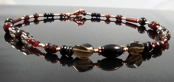 Root Chakra Necklace with Smokey quartz and garnet