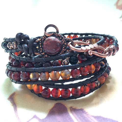 Red Agate Wrap Leather Wrap Bracelet