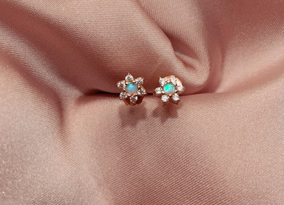 Opal & Diamond Daisy Gold Studs