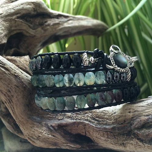 Serenity Moss Agate Leather Wrap Bracelet