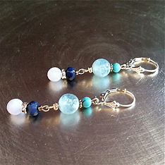 Throat Chakra Earrings Aquamarine with Turquoise