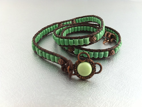 Green Turquoise Leather Wrap Bracelet
