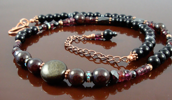 Root Chakra Necklace with Garnet and Obsidian