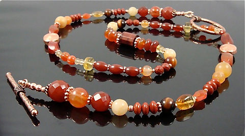 Large Sacral Chakra Necklace with large Copper Clasp