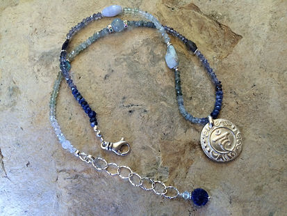 Throat Chakra Jewelry with Sterling Silver Sanskrit emblem