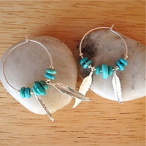 Sterling Silver Hoops with Turquoise