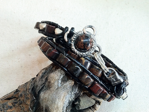 Dark Jasper Leather Wrap Bracelet