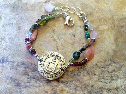 Heart Chakra Jewelry, Bracelet with Sterling Silver Chakra Emblem, tourmaline and rose quartz, malachite and peradote
