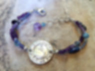 Third Eye Chakra Bracelet Sterling SIlver with Amethyst, Turquoise and Iolite