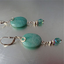 Blue Amazonite and Crystal Earrings with Sterling Lever-backs