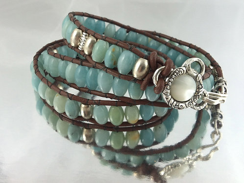 Amazonite Leather Wrap Bracelet